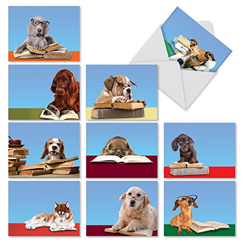 Lesen Eye Hunde Thank You Witz Karte 10 Assorted Blank Note Cards (M3967)