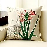 PLL Rosa Orchidee Muster Retro Kissen Baumwolle Leinen Wohnzimmer Sofa Kissen Kissen Büro Auto Rückenlehne