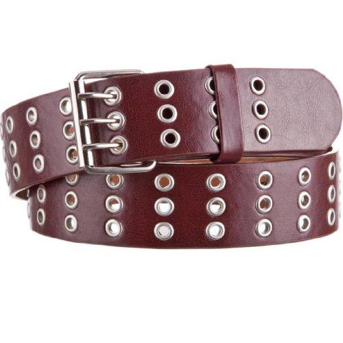 style3 Nietengürtel mit 3-Dornen Schließe für Herren in verschiedenen Farben, Größe:120cm;Farben:Braun (Nieten-gürtel Rocker)