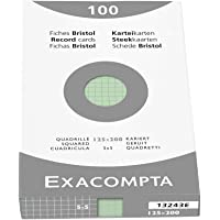 Exacompta 13243E Etui refermable de 100 fiches bristol - quadrille 5x5 non perforée 125x200mm VERTE