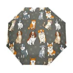 Dogs Funny Cartoon Pattern Automatic Umbrella,Windproof Waterproof UV Protection Animals Pet Dog Paw Prints Colorful Compact Travel Umbrella - 3 Folds Auto Open/Close Button Sun&Rain Car Umbrella