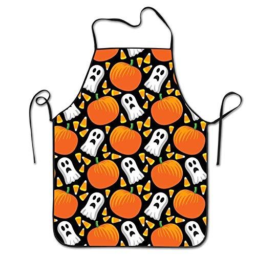 AORSTAR Non-Toxic Halloween Pumpkin and Ghost Lock Edge Waterproof Durable String Adjustable Easy Care Cooking Sch¨¹rzen K¨¹Che Sch¨¹rzen for Uisex Chef-Eco-Friendly Art Decor Tie-Dye