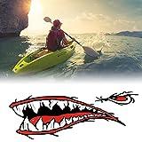 Swiftswan 2 Teile/Satz Shark Zähne Mund Aufkleber Decals für Angeln Ozean Boot Kanu Dinghy (Farbe: Mischfarbe)