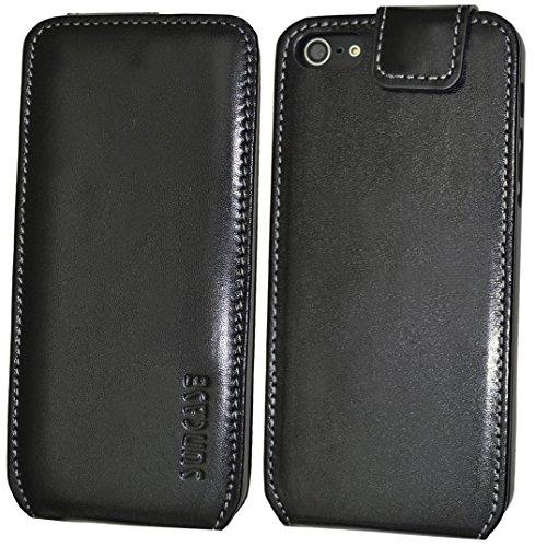 iPhone SE | iPhone 5S | Original Suncase Flip-Style Ledertasche *ECHT LEDER* Tasche in schwarz Schwarz