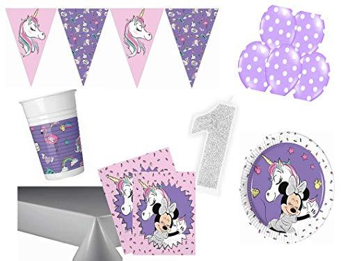 PS Party Deko Set 1.Geburtstag Minnie Mouse Einhorn Mädchen 61 teilig bis 16 Personen Kindergeburtstag Party Komplettset Raum Deko