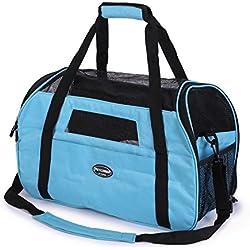 Kaka mall Transportín para Gatos Transpirable Plegable Pet Carrier Impermeable Bolso de Hombro Acolchado Suave Viaje Avion Tren o Auto por Pequeños Mascota (Azul, S)