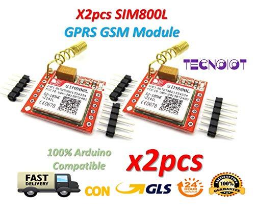 2pcs SIM800L GPRS GSM Module PCB Antenna SIM Board Quad band |2pcs Modulo GPRS SIM800L Scheda gsm Micro SIM Card Quad-Band Porta seriale TTL con antenna per Arduino MCU