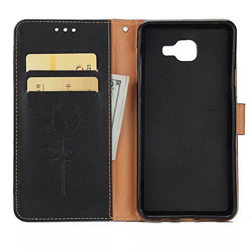 EKINHUI Case Cover Dual Color Matching Premium PU Leder Flip Stand Case Cover mit Card Cash Slots und Lanyard für Samsung Galaxy A720 ( Color : Gold ) Black