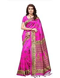 Fabwomen Sarees Kalamkari Pink And Pink Coloured Mysore Silk With Tessals Fashion Party Wear Women's Saree/Sari.