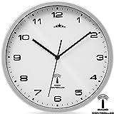 Wanduhr Funkuhr Quarz Funkwanduhr Analog Uhr 31cm Zeitumstellung Automatisch - weiß/silber