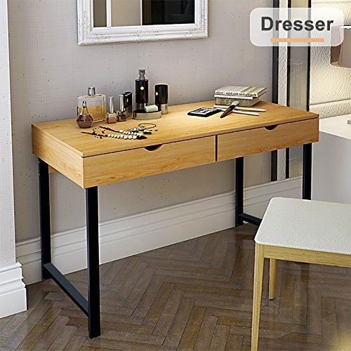 Tribesigns Modern Stylish Computer Desk Home Office Study Writing Table Workstation with 2 Drawers, Pear Wood Color