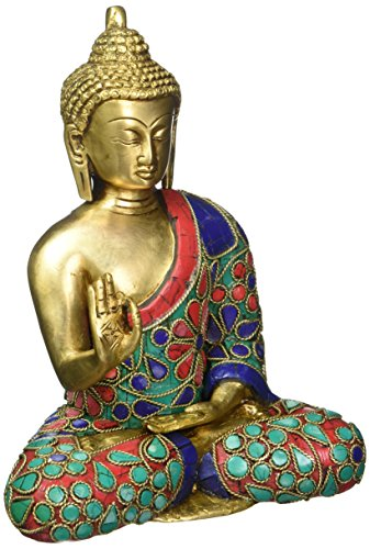 craftvatika Thai tibetischem Buddha Statue-Meditating Peace Harmony Buddhismus Statue Antik Style Jeweled Hand Made Buddha in Erde Berühren Mudra