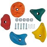Ultrakidz Klettersteine, Klettergriffe im 5er-Set, Größe L, in bunten Farben, für Indoor und Outdoor, für Kinder und Erwachsene