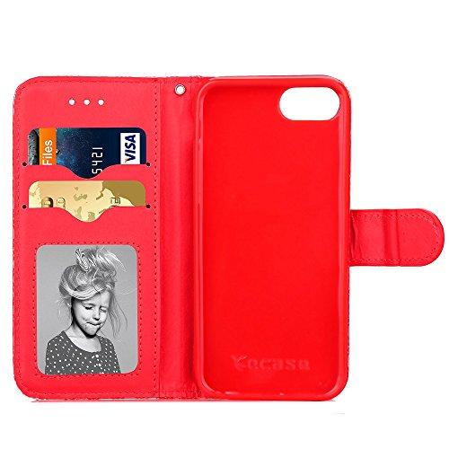 iPhone Case Cover Étui en cuir synthétique étui en cuir fleur étui trousseau trousseau chance avec étui à main ( Color : Red , Size : IPhone 7 ) Red