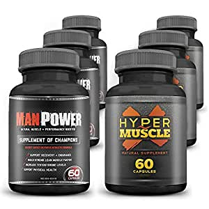WOW Man PowerX supplement of champions 60 capsules and Hyper Muscle Natural supplement 60 capsules (Pack of 6)