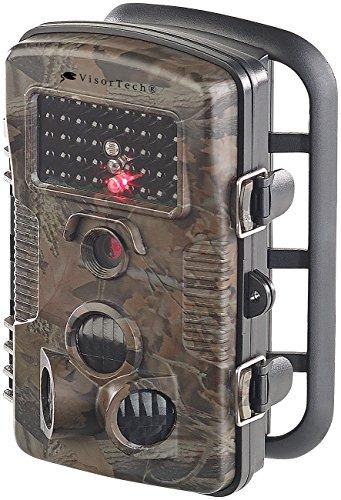 VisorTech Garten Kamera: Full-HD-Wildkamera mit Bewegungssensor, Nachtsicht, Farb-Display, IP54 (Wildüberwachungskamera) (Aufnahme-foto-rahmen)