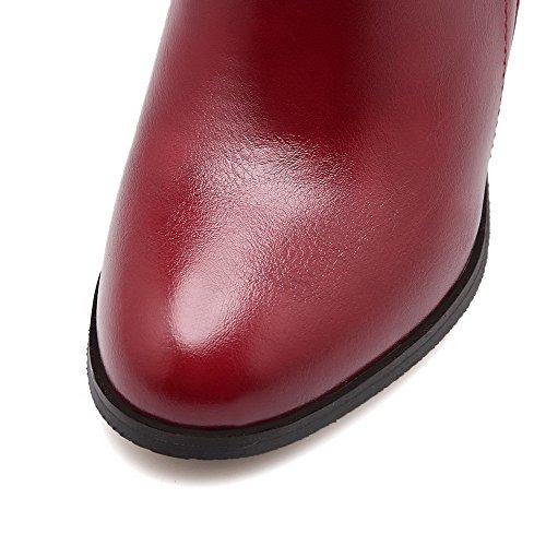 AgooLar Damen Reißverschluss Spitz Zehe Hoher Absatz Pu Leder Niedrig-Spitze Stiefel Rot