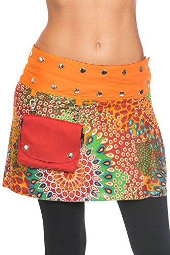 Minirock Wickelrock Goa zum Wenden mit abnehmbarer Tasche - in vielen Farben