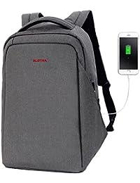 """SLOTRA Mochila portátil para 15.6"""" Mochila Antirrobo para Viajes de Negocios Escuela con Puerto de Carga USB Checkpoint Friendly (Gris oscuro)"""