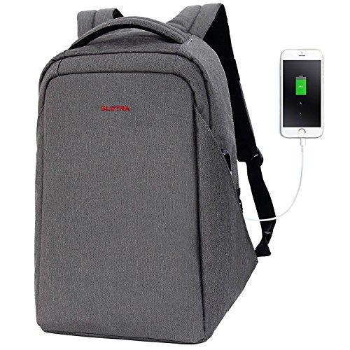 Slotra Anti Diebstahl Laptop Rucksack 15,6 Zoll mit USB Ladeanschluss Wasserdichte Business Travel Schultasche (Dunkelgrau)