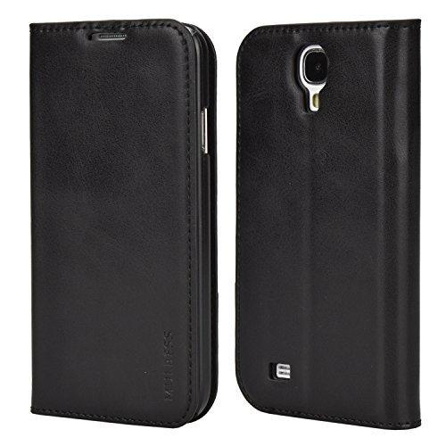 Mulbess Ledertasche im Ständer Book Case für Samsung Galaxy S4 Tasche Hülle Leder Etui,Schwarz