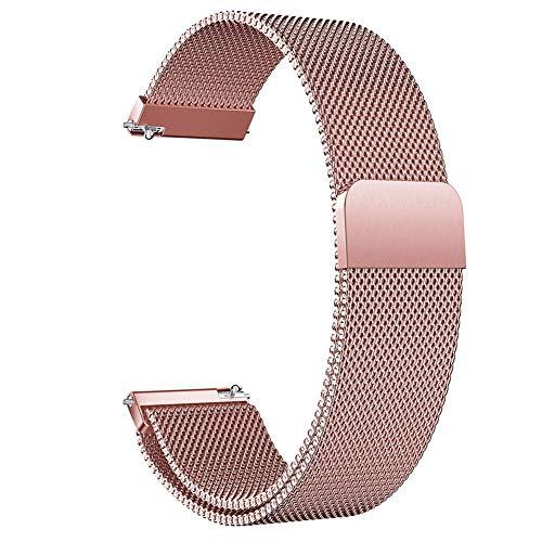Sguan-wu Edelstahl Ersatzarmband für Samsung Galaxy Watch Active Rose Pink