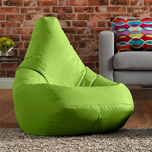 Hi-BagZ Outdoor High Back Bean Bag Chair - Lime Green - Water Resistant, Weather Proof Garden or Indoor Gamer Bean Bags