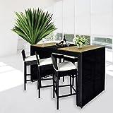 Muebles jardin de ratan 13 Piezas Barra de Bar + 6 Taburetes color Negro y Crema
