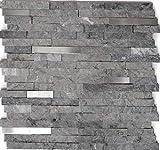 Mosaico Piastrelle di marmo/acciaio inossidabile Mix Brick Splitface Grigio Antracite | 1arco