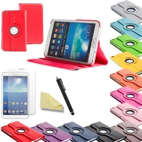3in1 SET Tab3 8.0 360° Schutzhülle + Folie + Pen Samsung Galaxy Tab 3 8.0 SM-T310 T311 T315 Tasche Etui (Rot)