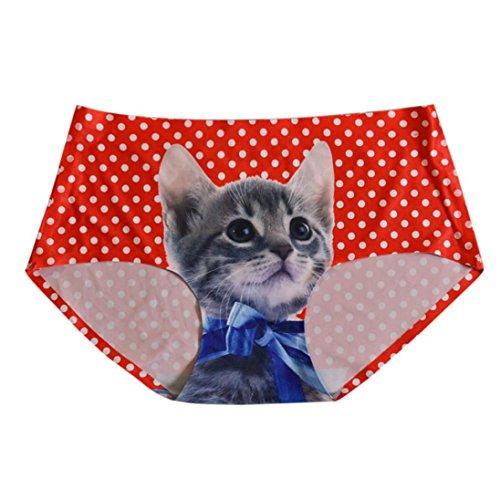 Damen Unterwäsche PLOT Frauen Sexy Nahtlose Schlüpfer-Katze 3D gedruckte Bogen-Schriftsatz-Schlüpfer-Wäsche-Unterwäsche (Rot) (Nahtlose Strumpfhosen Weiß)