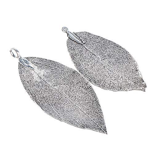 Baoblaze Galvanisiertes Kupfer Natürliches Mit Filigran Geschmücktes Blatt-Charme-DIY-Handwerk - Schwarz -