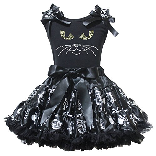 Petitebelle Halloween cat face camicia nero in cotone bianco corona teschio Gonna 1-8y Black 6-8 Anni