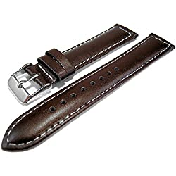 Brown Genuine Leather Padded Watch Strap Band 18mm