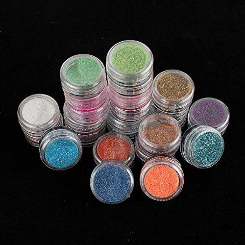 Bluelover 24 Couleur Acrylique Paillettes Ongles Poudre Décor