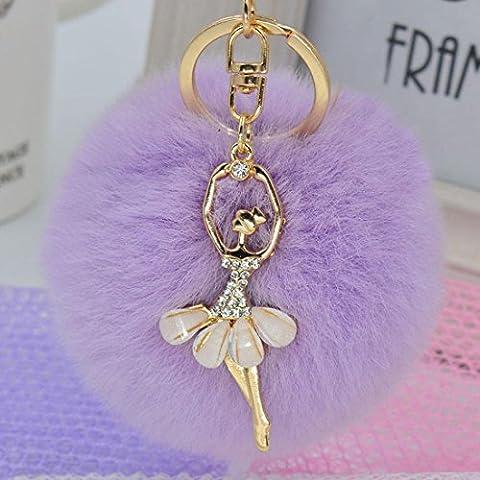 KesiErte 3Pcs Fashion Creative Plush Ball Keychain Pendentif Petit cadeau Lovely Rhinestone Angels ,