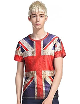 Fresco shirt, Reasoncool Uomo Union Jack stampato a maniche corte T-shirt