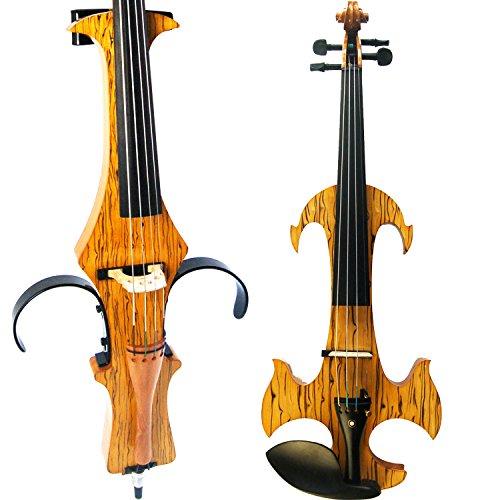 aliyes handgefertigt Professional Silent Elektrische Violine 4/4voller Größe Professional Massivholz Student Violine für Anfänger Kit-Saite für Violinen Schulterstütze, Kolophonium SDDS-N1910 (Weiße Geige In Voller Größe)