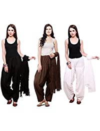 Green World Products : Combo Of Black, Brown & White 3 Indian Readymade Patiala Salwar Dupatta Set By Green World...
