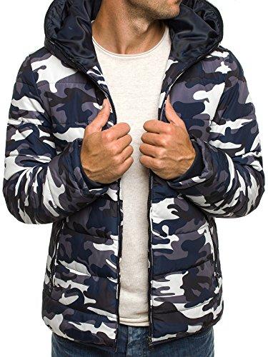 OZONEE Herren Winterjacke Wärmejacke Kapuzenjacke Militärstil Armee Sweatjacke Steppjacke Jacke Camo Sportjacke OZONEE 3167 Weiß-Schwarz