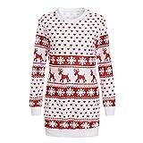 KPILP Minikleid Frauen Weihnachten Print Lässige Elegante Langarm-Sweatshirt Bluse(Weiß,EU-42/CN-M