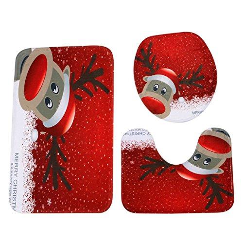Sockel Teppich + Deckel Toilettendeckel + Badematte Set,Moonuy 3 STÜCKE umweltschutz Weihnachten Bad Rutschfeste Sockel Teppich + Deckel Toilettendeckel + Badematte Set einfach absorbieren wasser (C)