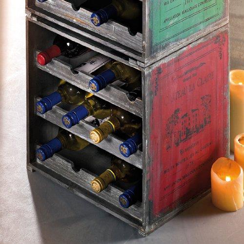 Weinregal / Flaschenregal System ANTIK, für 12 Fl., Holz Tanne, Rot, stapelbar / erweiterbar - H 39 x B 36 x T 32 - Stapelbare Weinregal Antik