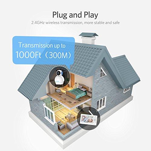 Video Babyphone,HOMIEE Babyphone 360 °Baby Kamera, 5 Zoll LCD Monitor und 300m 2,4G Wireless Verbindung, Wiederaufladbarer Monitor,Ton und Temperaturalarm, Nachtsicht, Wiegenlied und Zweiwege Audio - 4
