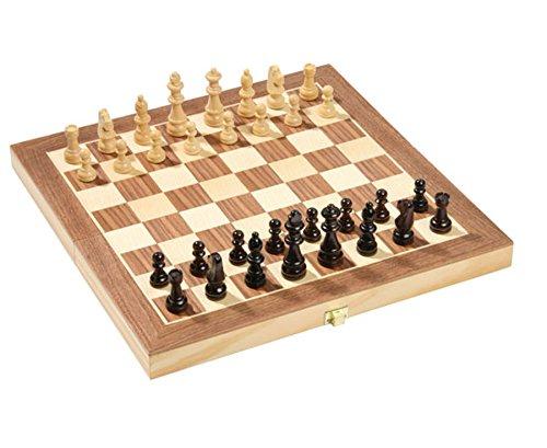 Preisvergleich Produktbild Schach-Klappkoffer, 29x29 cm, Schachspiel, Brettspiel, Schachkoffer, inkl. Figuren und liebevoll gestaltete Holzfiguren