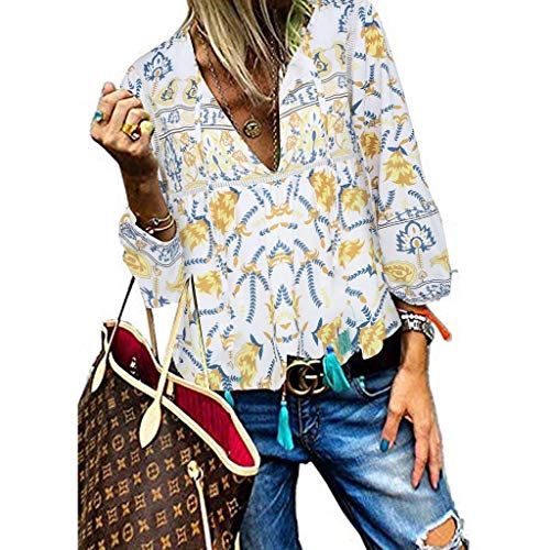 LUGOW Bluse Damen Blumenmuster Quaste Lose Langarmshirts Sweatshirts T-Shirt Poloshirts Blusen Pullover Online Sale Langarm Tops Sexy V-Ausschnitt Tee Shirt(Medium,Gelb) -