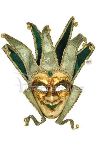 al Smiley Jester Design Laser Cut Material Masquerade Mask for Mardi Gras or Halloween - Green by VintageVenetian (Jester Halloween)