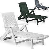 Deuba Sonnenliege Zircone | inkl. Rollen | Verstellbare Rückenlehne | klappbar | Kunststoff | Gartenliege Rollliege Liegestuhl - Farbauswahl - Weiß