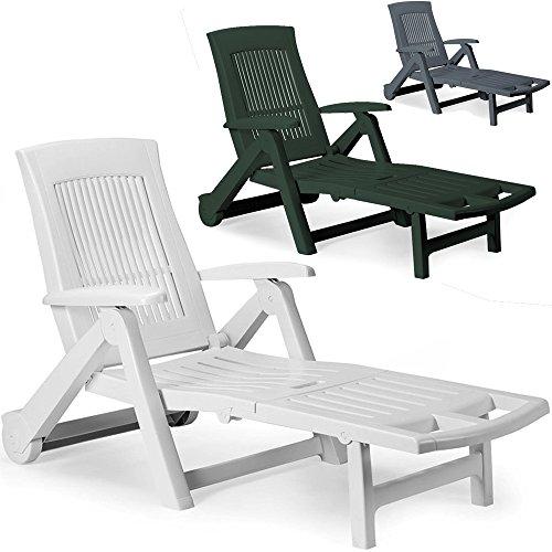 Deuba Sonnenliege Zircone ✓ inkl. Rollen ✓ verstellbare Rückenlehne ✓ klappbar ✓ Kunststoff - Gartenliege Rollliege Liegestuhl - Farbauswahl - anthrazit