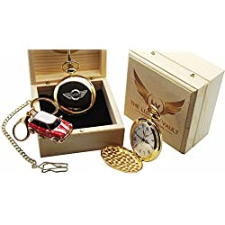 Mini Cooper S Gold Pocket Watch and Keyring Luxury Gift Set Countryman Pace Coupe Convertible JCW John Cooper Works